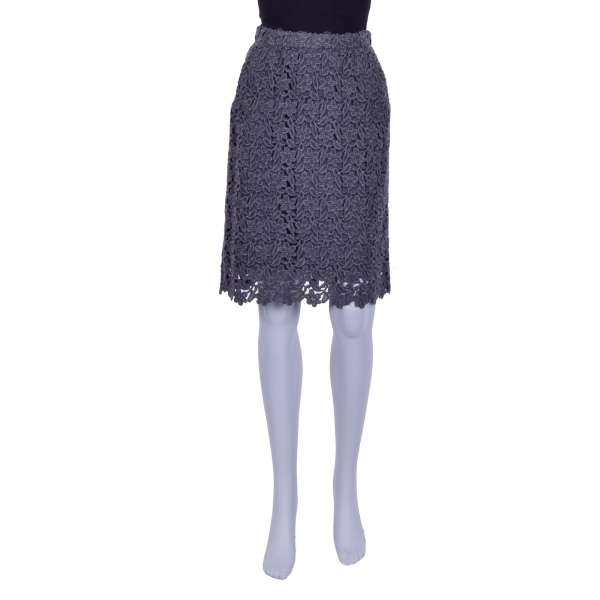 Floral lace wool skirt with a silk underskirt by DOLCE & GABBANA Black Label