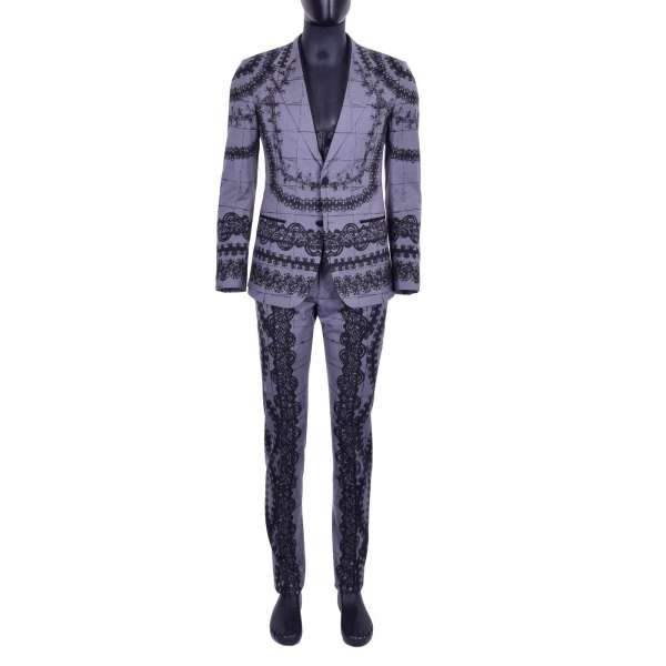 Virgin Wool 3-pieces suit with torero style print and rounded waistcoat by DOLCE & GABBANA Black Line