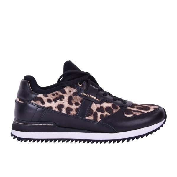 Calfskin and Canvas Ladies Sneaker NIGERIA with leopard print and logo by DOLCE & GABBANA Black Label