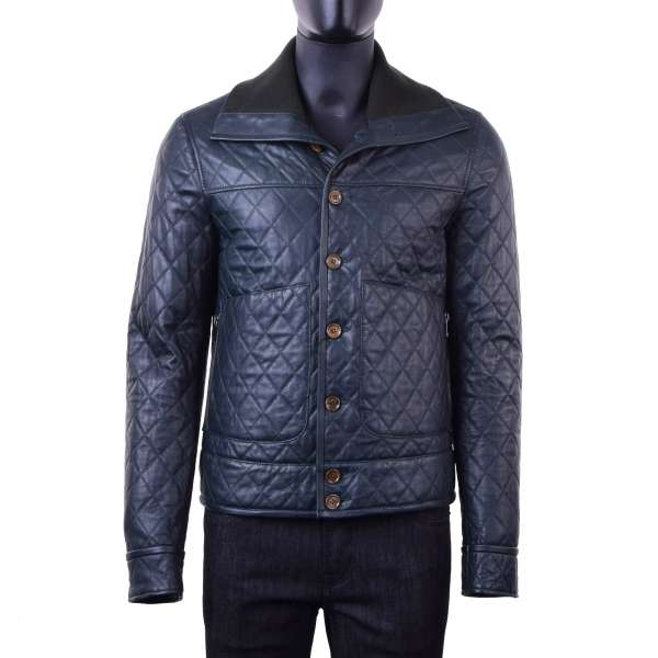 Light stuffed leather jacket made of quilted nappa lambskin with a high knitted collar by DOLCE & GABBANA Black Line