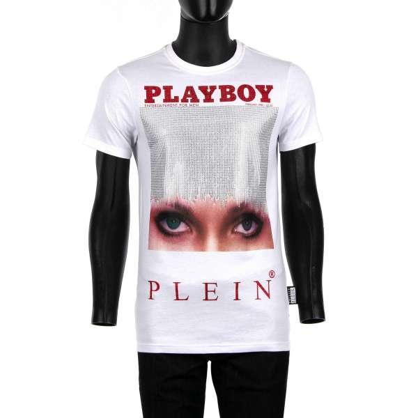 T-Shirt mit Magazin Cover Print von Iconic Eyes / Candace Jordan und mit Kristallen verziertem' Playboy Plein' Schriftzug auf der Rückseite von PHILIPP PLEIN x PLAYBOY