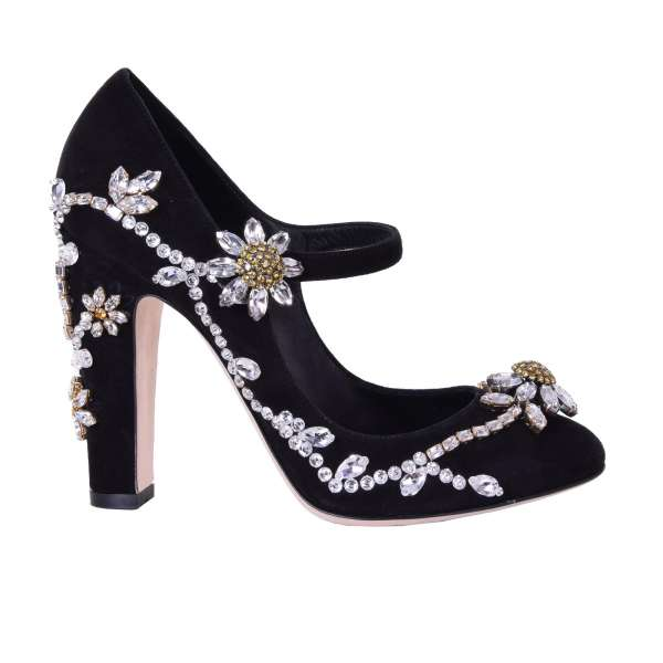 Extravagant Mary Jane Suede Pumps COCO with floral crystals embroidery by DOLCE & GABBANA Black Label