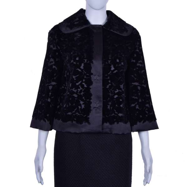 Silk Baroque Style Jacket with embroidered velvet flowers in Black by DOLCE & GABBANA Black Line