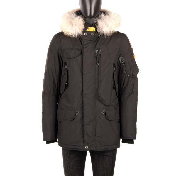- Parka / Down Jacket RIGHT HAND LIGHT made of light polyester-polyurethane poplin shell with a detachable real fur trim, hoody, many pockets and a down-filled lining in Dark Black