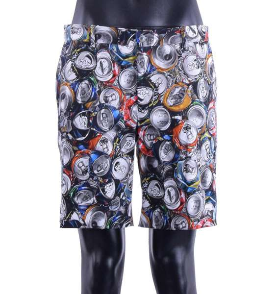 """Cotton Shorts with all over multicolor """"Recycling"""" prints by MOSCHINO COUTURE"""