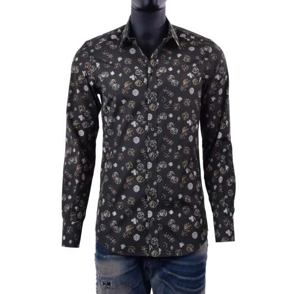 Dices & Card Suits printed shirt with short collar and cuffs by DOLCE & GABBANA Black Label - GOLD Line