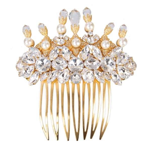 Filigrane Messing-Haarspange / Haarkamm verziert mit Kristallen und Kunst-Perlen in Gold von DOLCE & GABBANA