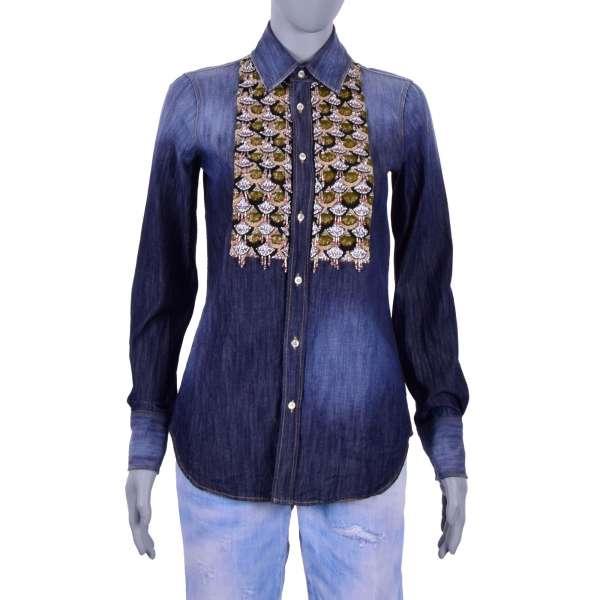 Jeans Hemd im Western Stil mit Quasten, Perlen und Kristallen Handstickerei in Blau von DSQUARED2