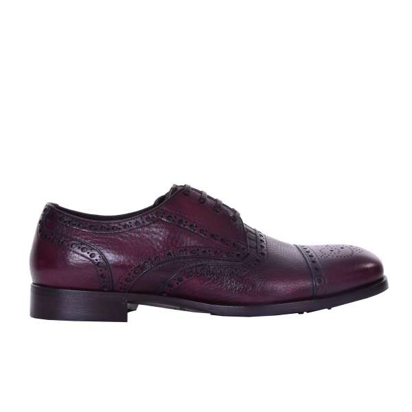 Brogues shoes SORRENTO in bordeaux red soft calfskin by DOLCE & GABBANA Black Label