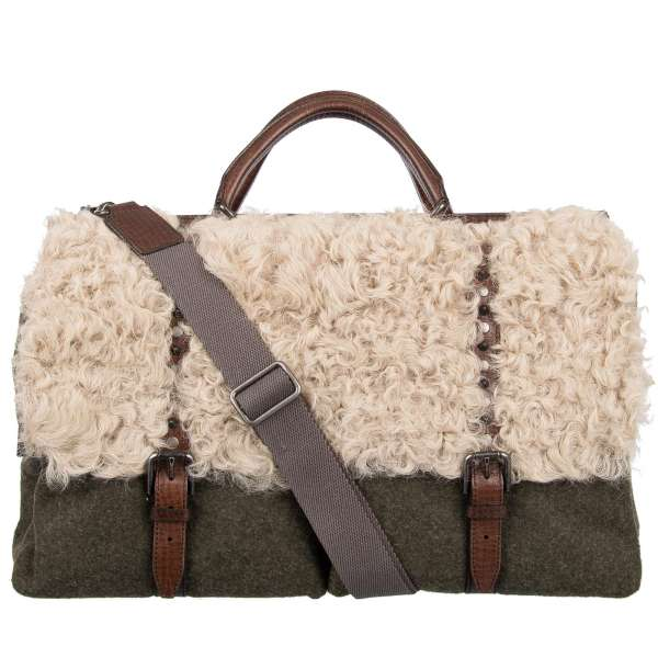 Travel bag / Weekender SICILY made of fur, leather and fabric with outer pockets, studs and logo plate by DOLCE & GABBANA