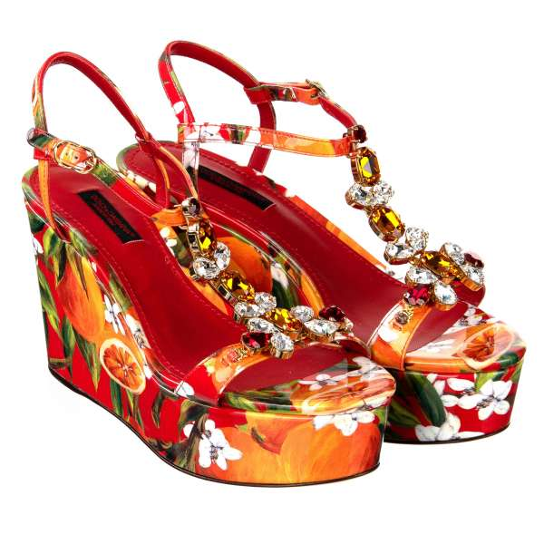 Orange and flowers Print Patent Leather Plateau Sandals / Wedges embellished with crystals in red and orange by DOLCE & GABBANA Black Label