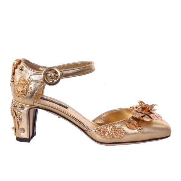Nappa leather Pumps with studs and golden floral baroque brass decorations by DOLCE & GABBANA Black Label