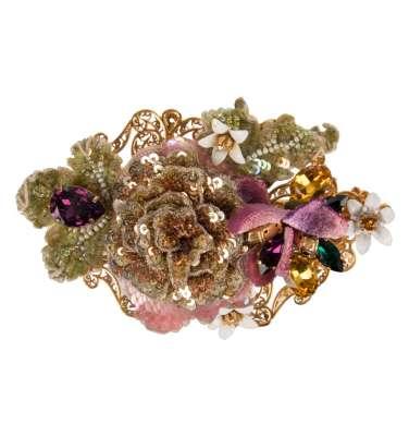 Barock Blumen Kristall Haarspange Gold