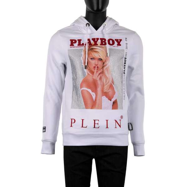 Hoody with a crystals graphic print of a magazine cover of of Victoria Silvstedt at the front and crystals embellished 'Playboy Plein' lettering printed at the back by PHILIPP PLEIN x PLAYBOY