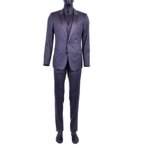 3-Teiliger Tuxedo Anzug aus Schurwolle und Seide mit Kontrast Revers aus Seide und Wellen Muster von DOLCE & GABBANA Black Label