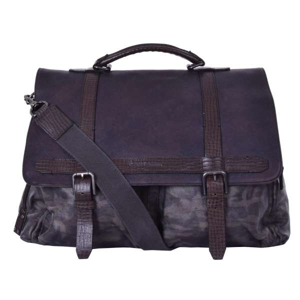 Large military camouflage messenger bag with logo pendant made of canvas and grained calfskin by DOLCE & GABBANA Black Label