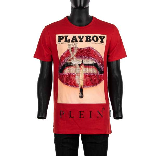 T-Shirt with a crystals graphic print of a magazine cover of Lauren Young's lips at the front and crystals embellished 'Playboy Plein' lettering printed at the back by PHILIPP PLEIN x PLAYBOY