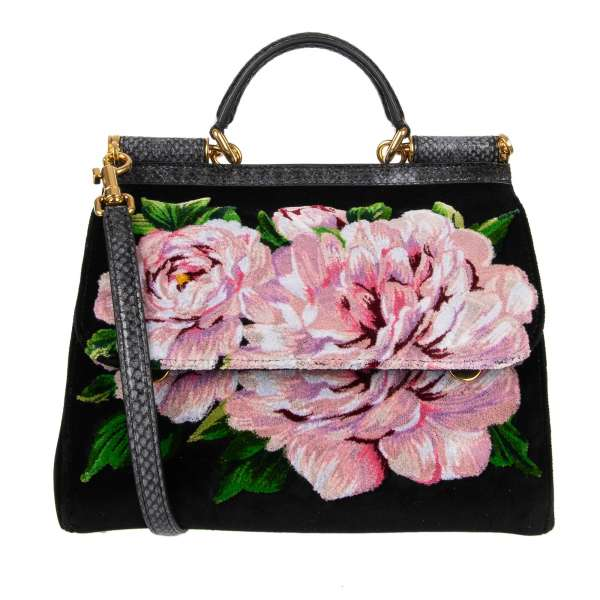 Velvet Tote / Shoulder bag SICILY with roses applications, ayers snake skin elements and logo plate in gold by DOLCE & GABBANA