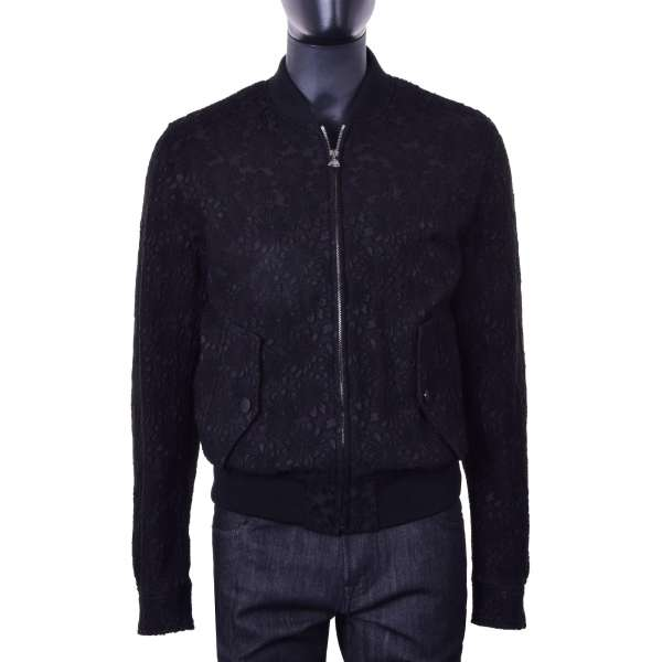 Padded bomber jacket with floral structurein black made of wool by DOLCE & GABBANA Black Line