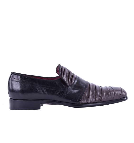 Bi-color slip-on shoes SIENA CAPRILUX made of pleated kangaroo leather by DOLCE & GABBANA Black Label