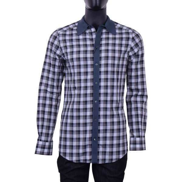 Checked printed shirt with jersey short collar by DOLCE & GABBANA Black Label - GOLD Line
