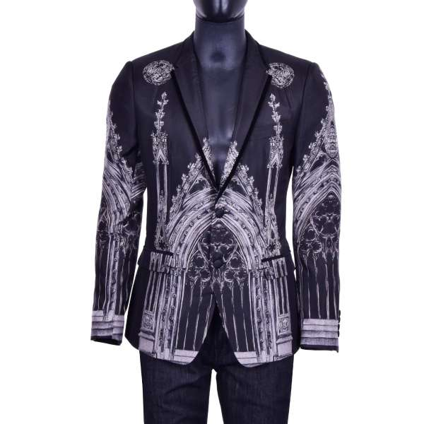 Silk blazer with Gothic Cathedral Print and notched velvet edge lapel in black and gray by DOLCE & GABBANA Black Line