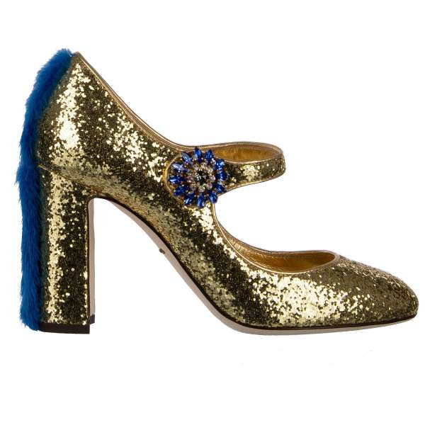 Glitter Design Mary Jane Pumps VALLY embellished with mink fur and crystals buckle by DOLCE & GABBANA Black Label
