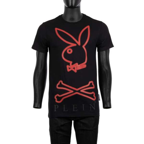 T-Shirt with a large rubber printed Bunny Skull logo and PLEIN lettering at the front and rubber printed 'Playboy Plein' lettering at the back by PHILIPP PLEIN x PLAYBOY