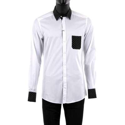 GOLD Shirt w. Polka Dot Collar White Black