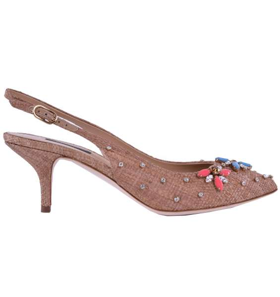 Straw Slingbacks BELLUCCI with stone and rhinestone embroidery by DOLCE & GABBANA Black Label