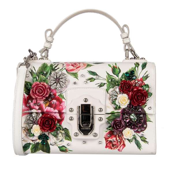 Shoulder Bag LUCIA with roses print, hand painted roses with petals, crystals applications and decorative buckle with logo in white by DOLCE & GABBANA