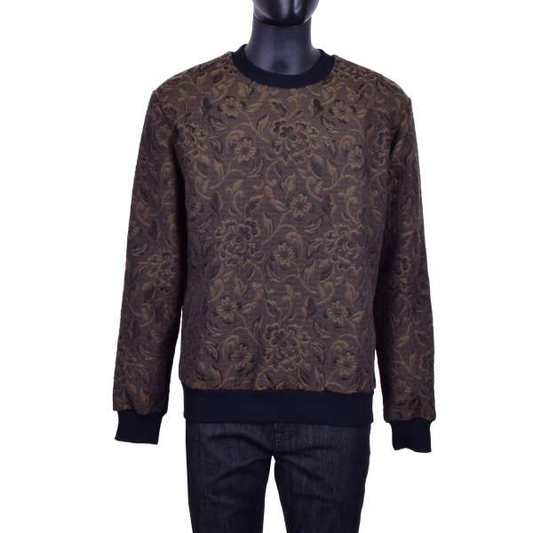Floral brocade sweater in brown and black by DOLCE & GABBANA Black Line