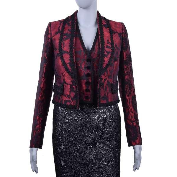 Embroidered spanisch torero style blazer / jacket made of viscose brocade by DOLCE & GABBANA Black Line