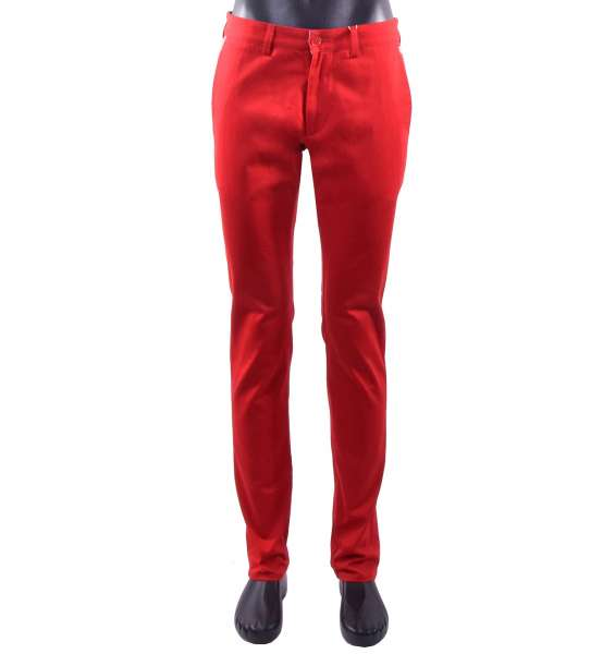 Slim Fit chino trousers for men with logo print by MOSCHINO COUTURE