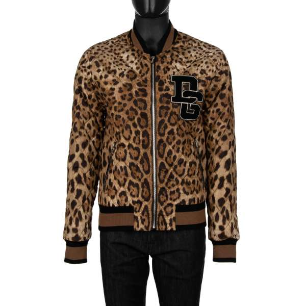 Quilted and padded leopard printed bomber jacket made od nylon with embroidered DG Logo by DOLCE & GABBANA
