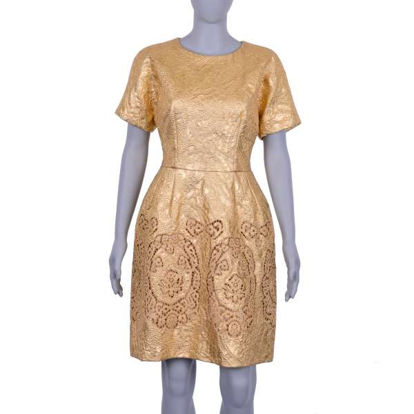 Floral Jacquard Baroque Style Dress with crystal buttons in gold by DOLCE & GABBANA Black Label