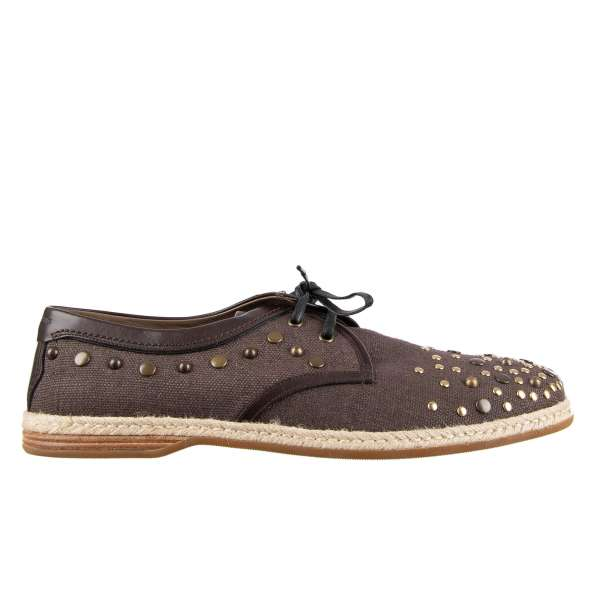 Linen canvas and leather derby shoes MONDELLO with studs, logo and rope sole by DOLCE & GABBANA
