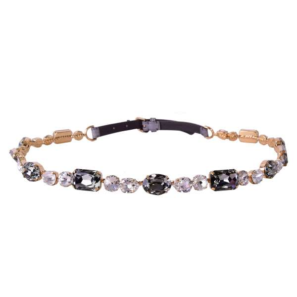 Belt with chain embelished with multicolored crystals and lizard textured leather in Gray by DOLCE & GABBANA Black Label