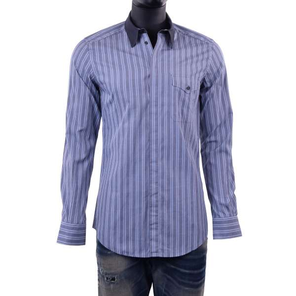 Striped printed shirt with front pocket and contrast collar by DOLCE & GABBANA Black Label - SICILIA Line