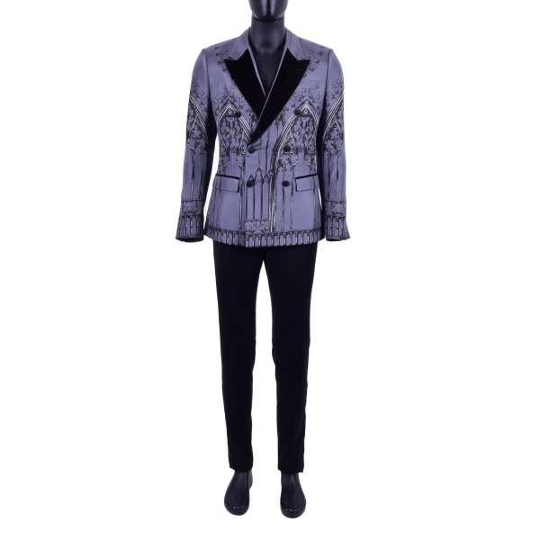 Doppelreihiger 3-Teile Anzug aus Seide und Wolle mit Gotik Print und Kontrast Revers aus Samt von DOLCE & GABBANA Black Label