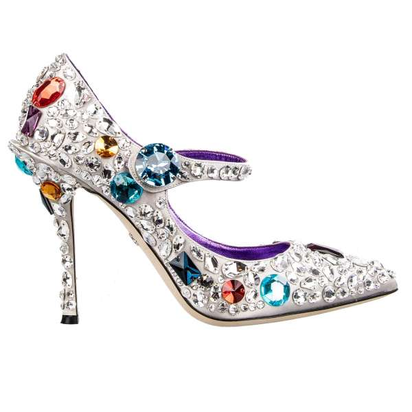 Pointed Embellished Mary Jane Cinderella Pumps LORI in silver with all-over multicolor crystals and large Gift Box by DOLCE & GABBANA
