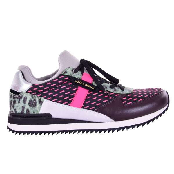 Ladies Sneakers NIGERIA made of calfskin with leopard print and DG logo plaque in pink, black and purple by DOLCE & GABBANA Black Label