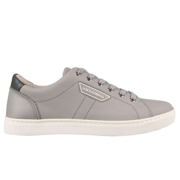 Classic calf leather sneakers LONDON in gray with logo plaque by DOLCE & GABBANA