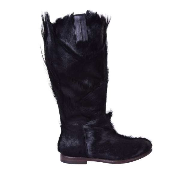 Gazelle Fur Winter Boots with zip fastening by DOLCE & GABBANA Black Label