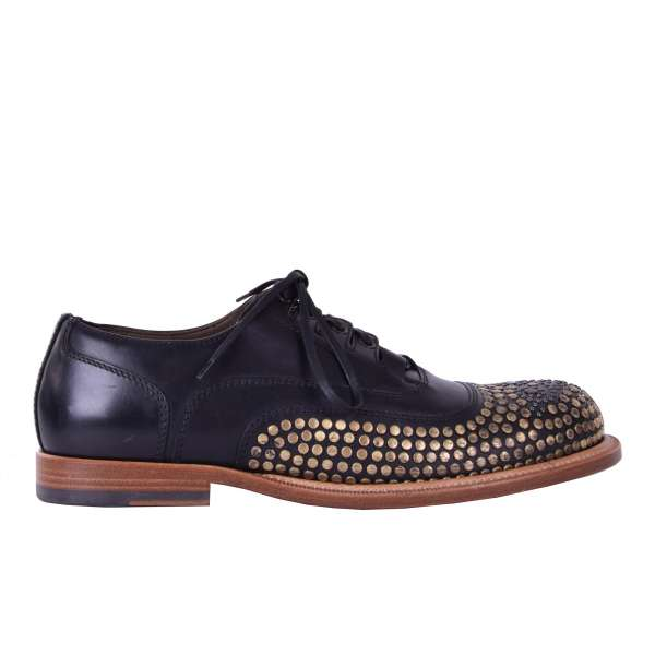 Gold studded calfskin derby shoes by DOLCE & GABBANA Black Label