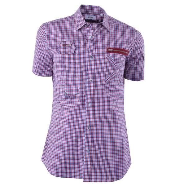"""Kariertes Kurzarm-Hemd """"Survival Jacket"""" mit vielen Taschen von MOSCHINO First Line"""