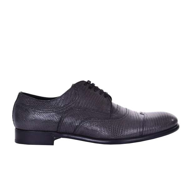 Lizard leather formal derby shoes by DOLCE & GABBANA Black Label