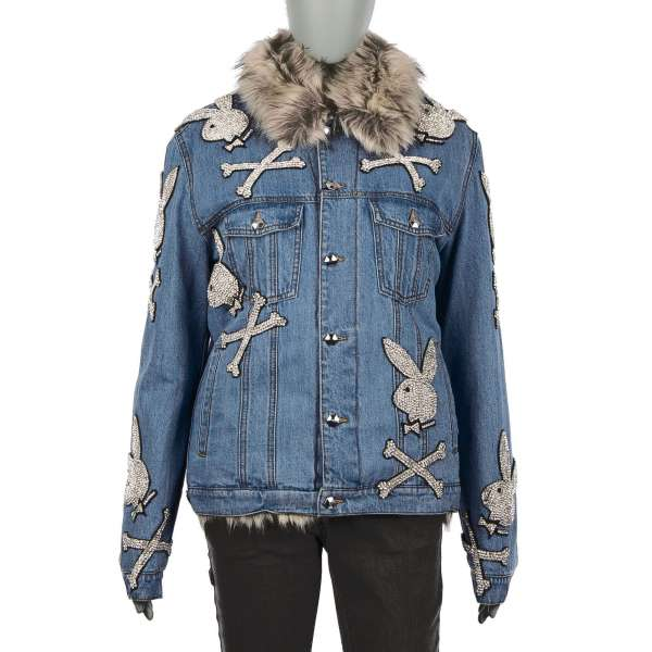 Long, with artificial fur stuffed Denim / Jeans Jacket CRYSTAL with Playboy Plein crystals logos, embroidered Playboy X Plein lettering and logo buttons by PHILIPP PLEIN x PLAYBOY
