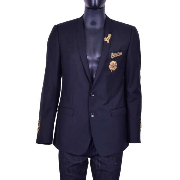 """Bees, crowns and flower hand-embroidered virgin wool blazer with embroidered inscriptions """"AMORE"""" and """"LOVE"""" by DOLCE & GABBANA Black Label"""