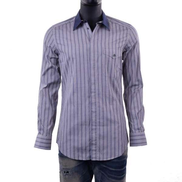 Gestreiftes Hemd mit Brusttasche und Kontrastkragen in Blau / Beige von DOLCE & GABBANA Black Label - SICILIA Line